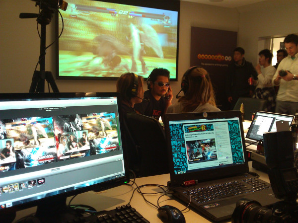 Bugs at work. Streaming at Tekken launch party in Sydney with Harada.