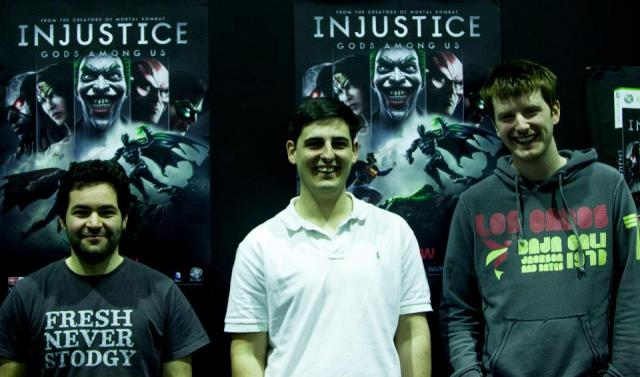 Mike won the first Injustice tourney. From left, Gab, Mike, Viper (Ben)
